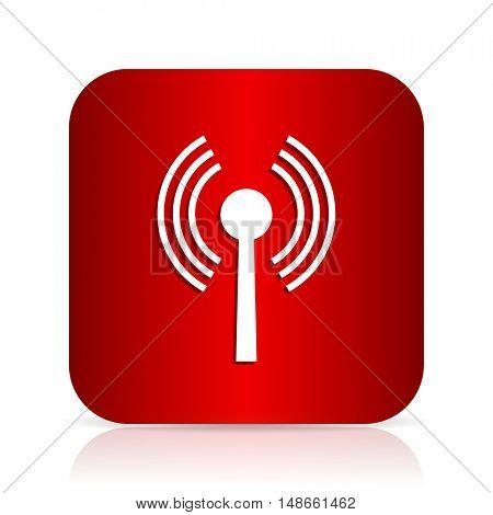 wifi red square modern design icon