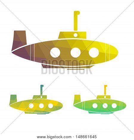 Vector illustration set of cartoon yellow submarine. design element.