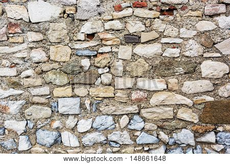 Old stone wall texture. Architectural element. Big stones. Solid material.