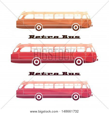 Side view of colorful silhouettes of retro bus on white background. Set Old-fashioned city bus retro. Icon vintage bus. Vector illustration.