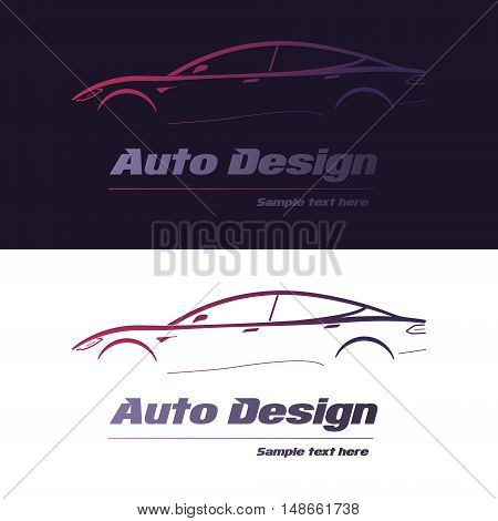 Abstract car design concept automotive topics vector logo design template. Auto Company Logo Vector Design Concept with white and dark blue background.