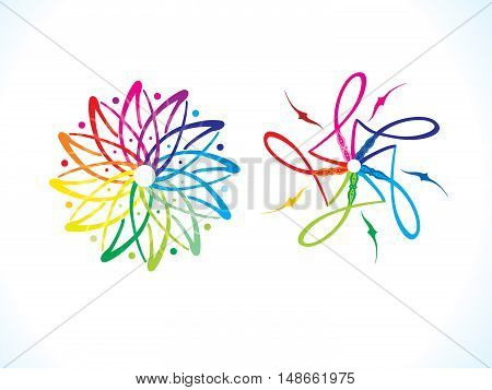 abstract artistic multiple rainbow floral vector illustration