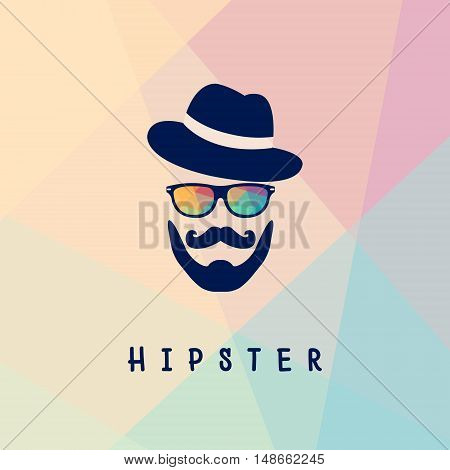 Vector illustration of glasses and a mustache with a beard isolated on multicolor background. Hipster logoman old school logo template.