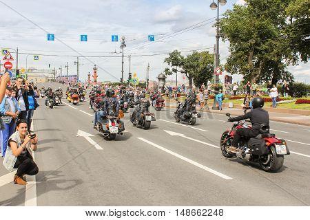 St. Petersburg, Russia - 13 August, Parade of Harley Davidson in St. Petersburg,13 August, 2016. The annual parade of Harley Davidson in the squares and streets of St. Petersburg.