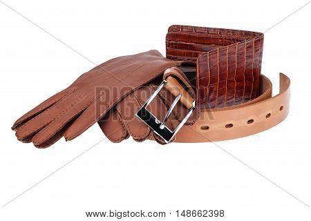 Set of male autumn brown accessories isolated on a white background