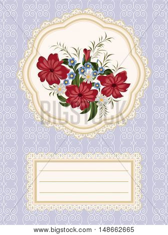 Red flowers, daisies and forget-me-nots on a napkin with lace.