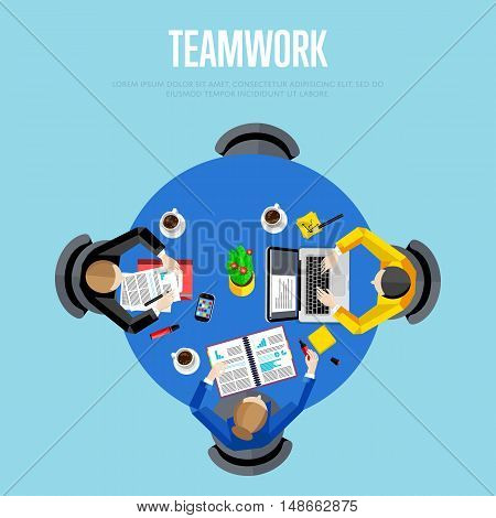 Teamwork concept. Top view workspace background, vector illustration. Business workplace with people, paperwork, laptop, cup of coffee and other objects on table. Project managers meeting.