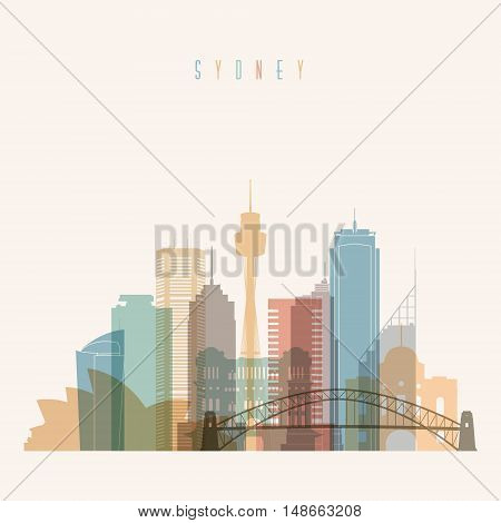Transparent styled Sydney state New South Wales skyline detailed silhouette. Trendy vector illustration.