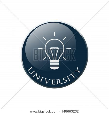 Bulb Icon on Round dark blue Button Collection. Vector Illustration