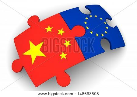 Cooperation between the European Union and China. Puzzles with flags of the European Union and China on a white surface. The concept of coincidence of interests in geopolitics. Isolated. 3D Illustration