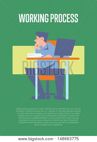 Young bewildered employee sitting at table with computer in office. Working process banner, isolated vector illustration on green background. Office life. Organized work process. Workflow concept