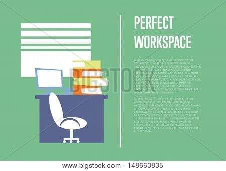 Office modern workplace with desktop computer and stack of folders on table. Perfect workspace banner, isolated vector illustration on green background. Office interior, business process.