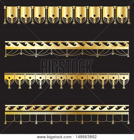 Gold borders frame. Beautiful simple golden design. Vintage style decorative border, isolated on black background. Elegant borders, gold texture. Borders collection for decoration, photo, banner, frames. Vector illustration.