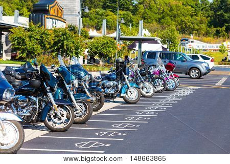 York PA - September 23 2016: Some of the motorcycles parked in exclusive parking spaces at the factory during the Harley-Davidson annual open house.