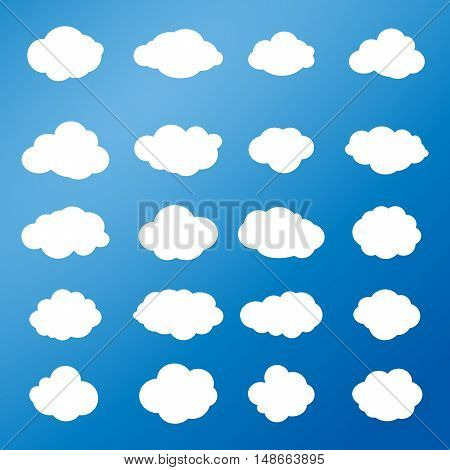 Cloud. Icon Clouds set. Cloud label. Clouds and sky. Different Cloud pattern. White clouds on blue sky background. Vector Illustration. For Art, Print, Web design