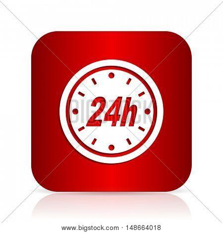 24h red square modern design icon