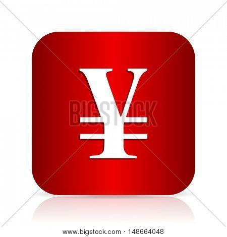 yen red square modern design icon