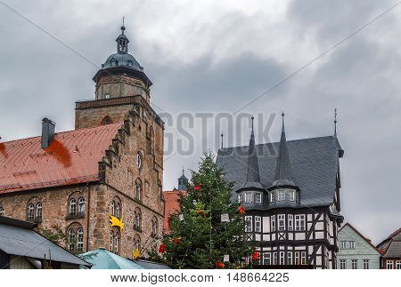 Main square of Alsfeld in christmastime with christmas tree Germany