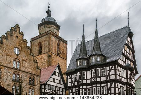 View of Alsfeld town hall and church on main square Germany