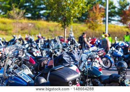 York PA - September 23 2016: Some of the motorcycles driven to the Harley-Davidson annual open house.