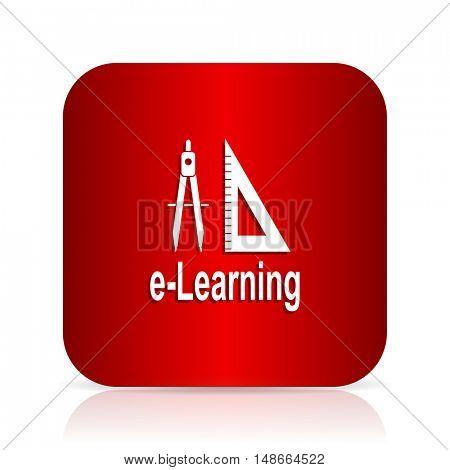 larning red square modern design icon