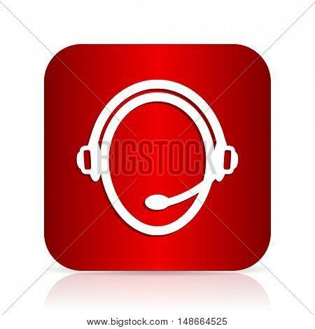 customer service red square modern design icon