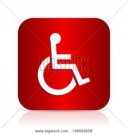 wheelchair red square modern design icon