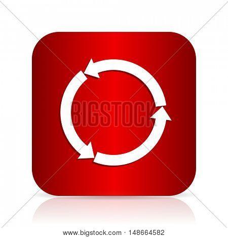 refresh red square modern design icon