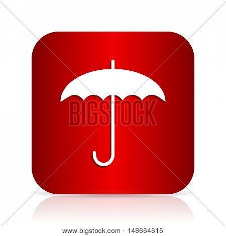 umbrella red square modern design icon