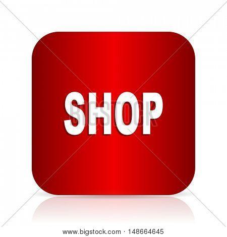 shop red square modern design icon