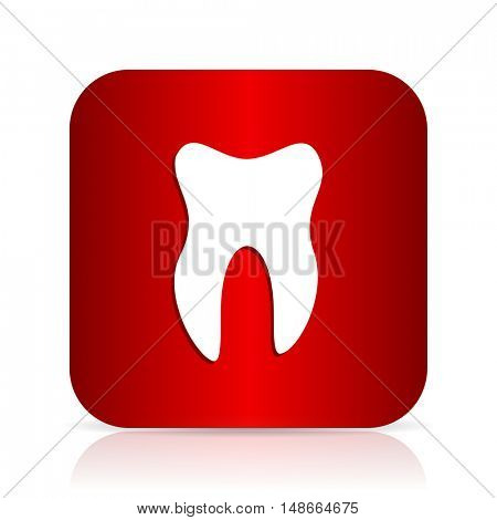 tooth red square modern design icon
