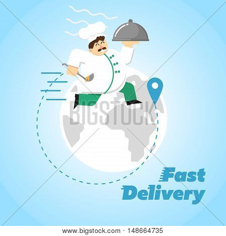Chef in white uniform running with restaurant cloche on background of globe. Fast food delivery design, vector illustration. Worldwide shipping and moving concept. Courier service.