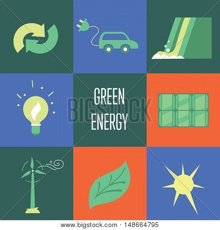 Green energy vector icons set suitable for info graphics, websites and print media. Power and ecological symbols on color background. Eco elements collection.