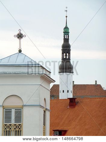 Beautiful Churches' Rooftop in Tallinn, Estonia, UNESCO World Heritage City