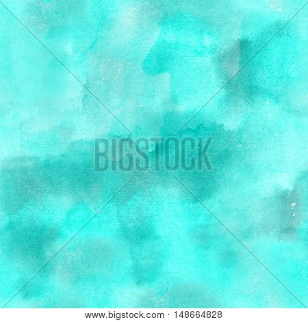 Artistic teal blue watercolor background texture seamless abstract pattern