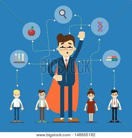 Social network and teamwork banner with connected people near businessman in superhero cloak, vector illustration on blue background. Communication mapping. Global scientific research and development