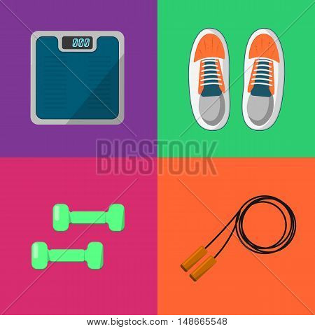 Vector illustration of gym sports equipment icons set. Skipping rope, sports shoes, dumbbells and weigher on color background. Healthy lifestyle. Athletic equipment. Different tools for sport.