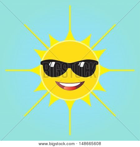 A smiling sun with black glasses vector illustration. Cute sun smiling card. Happy sun isolated on blue sky background.