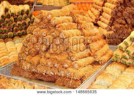 eastern sweets, khishnah kanafeh and baklava  on the arab market