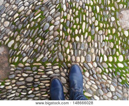Cobblestone Path in The Real Alcazar of Cordoba, Spain