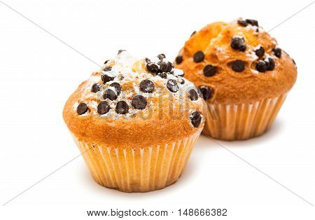 delicious chocolate muffin on a white background