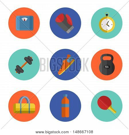 Vector illustration of gym sports equipment icons set. Boxing gloves, weight, bag, sports shoes, tennis racket, bottle, dumbbell, stopwatch and weigher on color background. Different tools for sport.