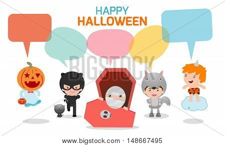 Cute kids wearing Halloween monster costume with speech bubbles isolated on white background, Halloween monster with speech balloon, vector illustration