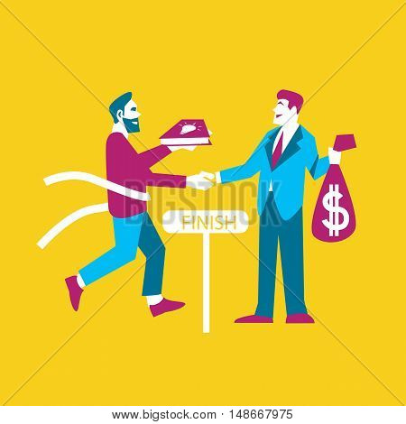 Businessman exchanging his ideas to money, isolated vector illustration. From idea to realization and success concept on yellow background. Investing in innovation, modern technology. Teamwork design