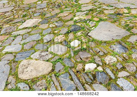 Urban Stone Paving, Perspective. Texture, Background, Selective Focus
