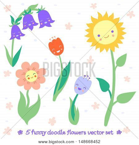 Funny and cute doodle flowers vector set