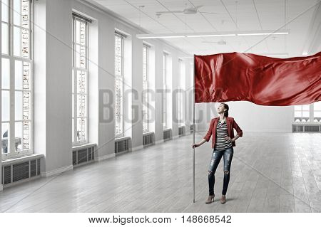 Woman holding red flag . Mixed media