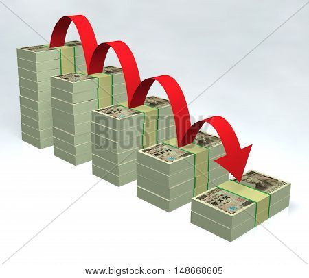 Stacked yen bills with red down arrow 3D