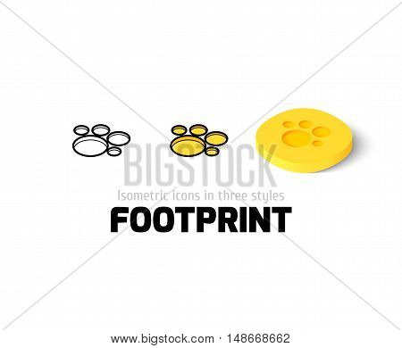 Footprint icon, vector symbol in flat, outline and isometric style