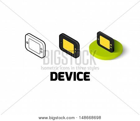Device icon, vector symbol in flat, outline and isometric style